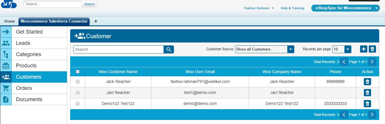 Customers List page