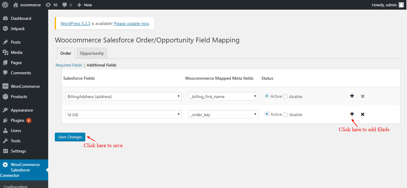Order field mapping