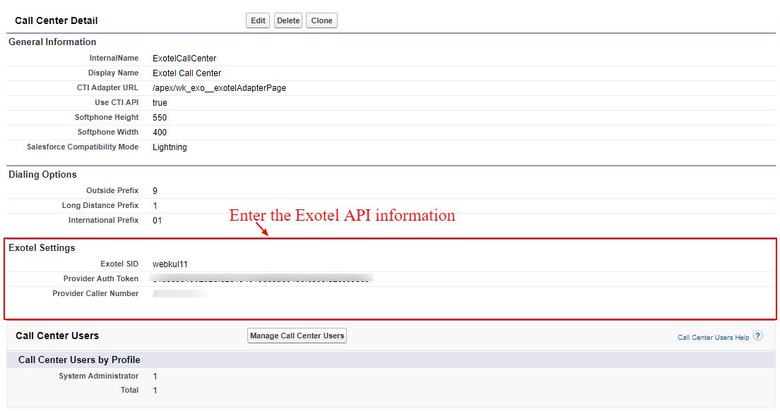 Exotel API information