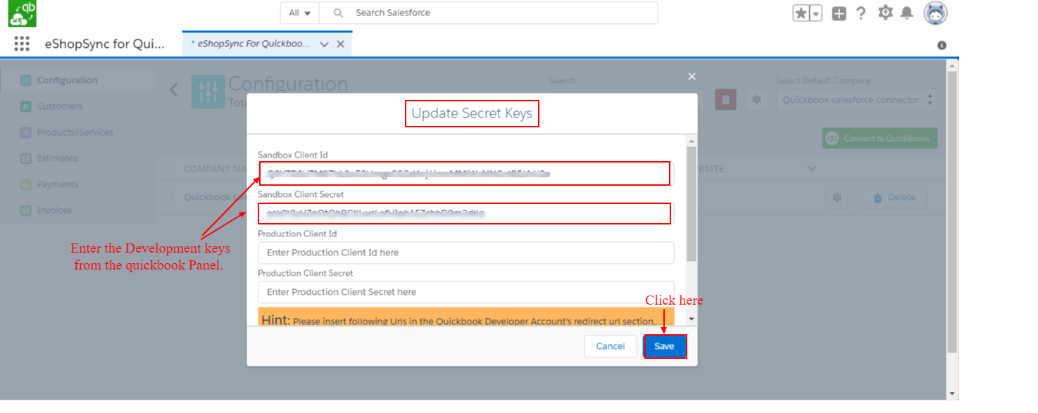 Configuration page settings