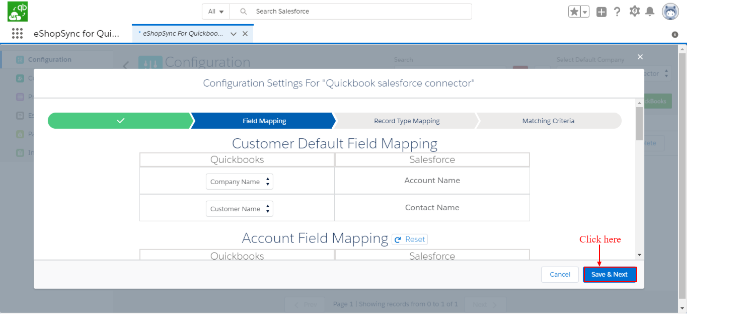Field Mapping settings