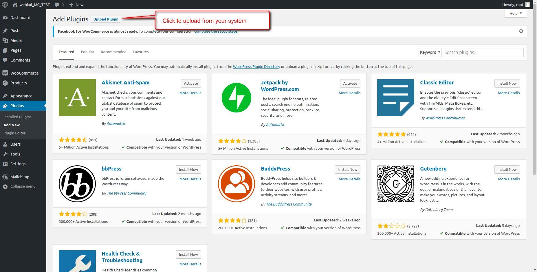Add Plugins ‹ webkul_MC_TEST — WordPress