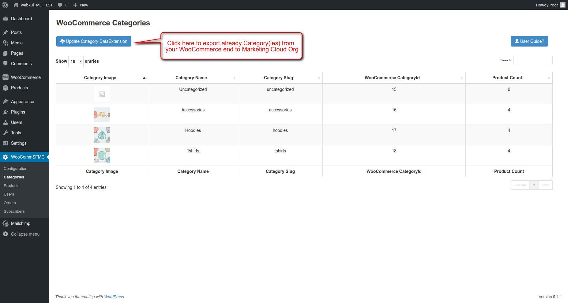 Syncronize Categories ‹ webkul_MC_TEST — WordPress
